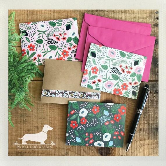 DOLLAR DEAL! Vintage Pink Floral. Note Cards (Set of 4)