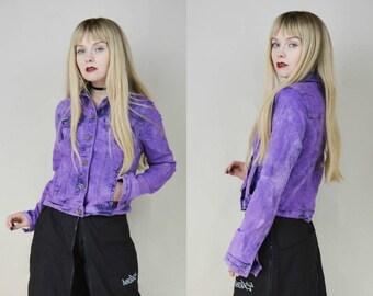 90s Purple Acid Wash Denim Jacket S