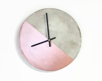 Cement Wall Clock, Rose Gold & Gray Concrete Home Decor, Home and Living, Decor and Housewares