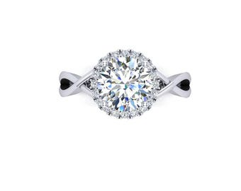 7.5mm round moissanite engagement ring, made in 14k white gold with diamonds halo, style 190WDM