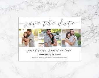 Printable Modern Script Photo Card Save the Date