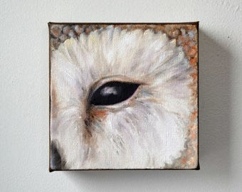 ON SALE Wildlife art, original oil on canvas, owl painting, Barn Owl, wall art, home decor - Eye See You series thirteen