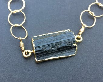 Black Tourmaline Pendant on an Onyx and Smoky Quartz studded Gold Filled Chain