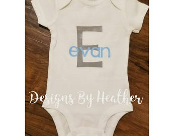 Personalized Onsie Bodysuit with Name and Initial