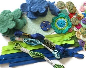 Blue and Green Craft Inspiration Box - Craft Box - DIY Craft Box - Craft Kit Box - Blue Fabric and Felt Craft Box