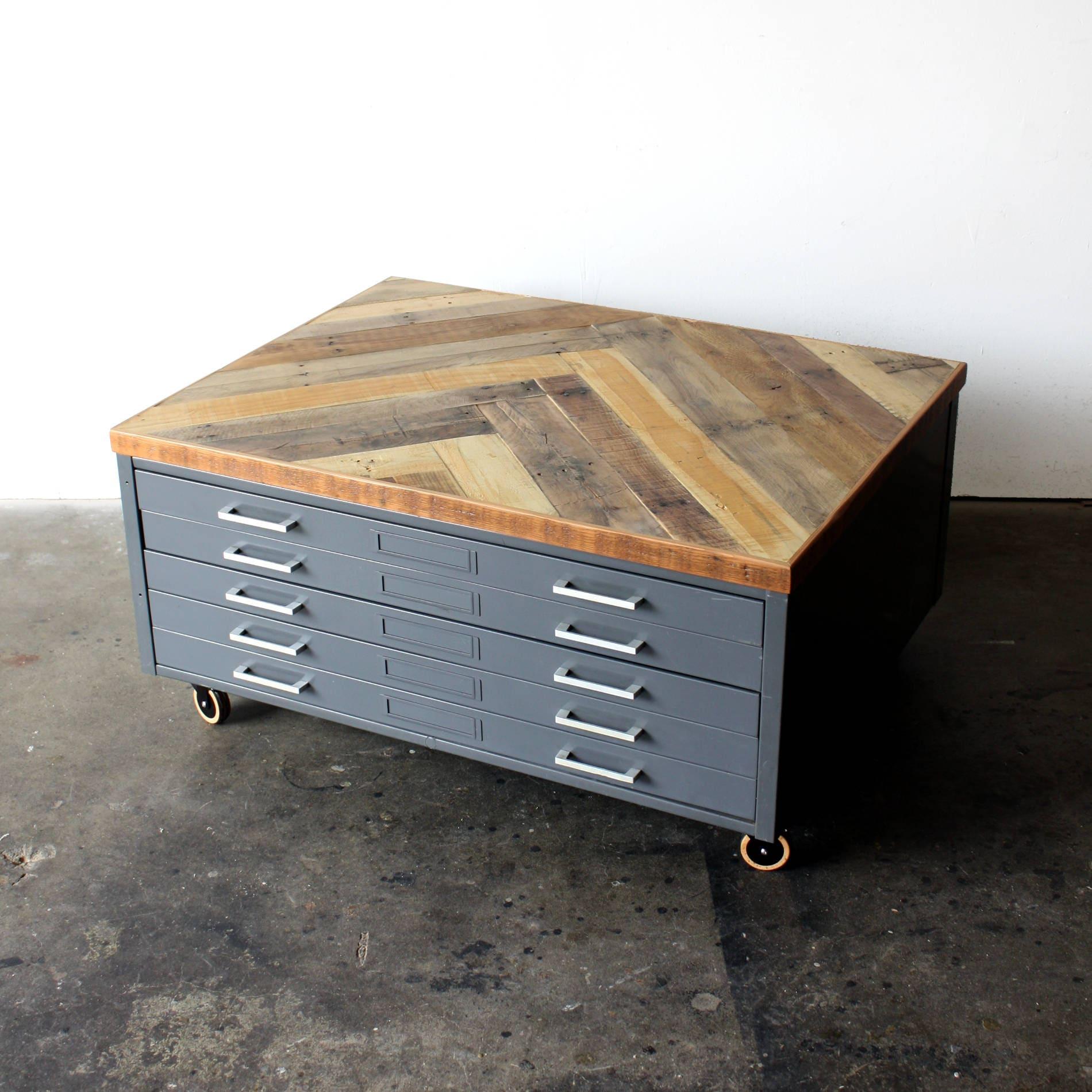 Industrial Storage Coffee Table Review: Repurposed Coffee Table Reclaimed Wood Herringbone Vintage