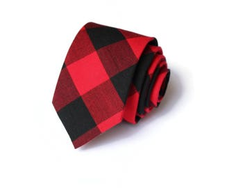 Buffalo Plaid Mens Necktie~Cotton Necktie~Red and Black Necktie~Buffalo Check~Buffalo Check Tie~Christmas Tie~Valentines Day Gift~Xmas Tie