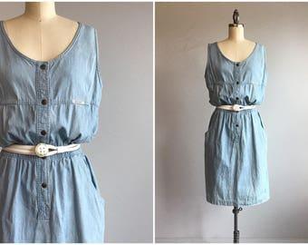 Vintage 80s Denim Dress / 1980s Ideas Indigo Blue Denim Jumper Sundress