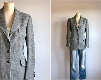 Vintage 70s Tweed Blazer / 1970s B Altman Wool Tweed Riding Jacket / Grey Neutral Check