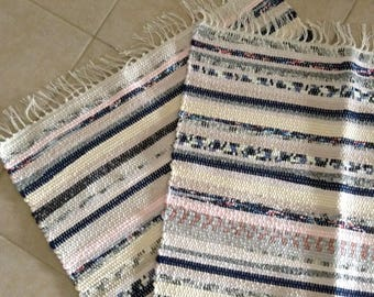 Hand Woven Knit Rag Rug, Floor Runner, Throw Rug, Table Runner in Assorted Colors of Knits in Navy Blue, biege, pink, cream, gray