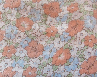 pink and blue floral print vintage cotton fabric -- 34 wide by 1 1/2 yards