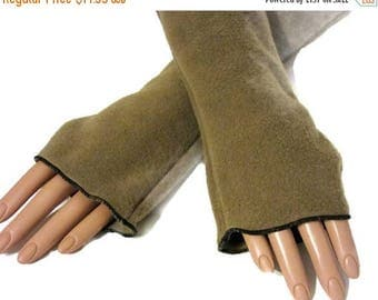 ON SALE Camel Brown Fleece Arm warmers/Fingerless Gloves Vintage Homemade Style
