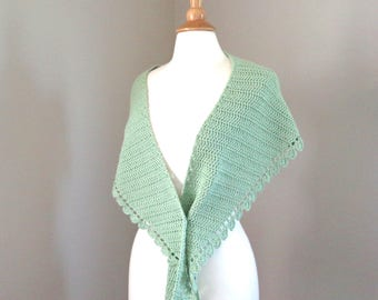 Crochet Shawl Wrap with Lace, Pale Green, Cotton and Merino Wool, Shoulder Shawl, Wide Scarf with Pointed Ends