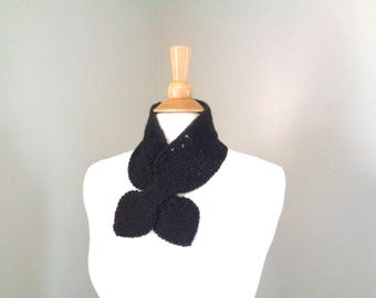 Black Ascot Scarf, Neck Warmer, Knitted Scarf, Elegant Refined Chic Office Style, Mongolian Cashmere
