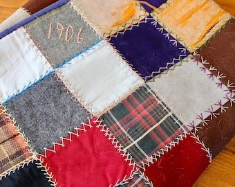 Antique Patchwork Quilt Wool Crazy Plaid Dated 1906 Scrap Hand Pieced Tied Vintage