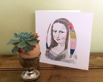 Mona Lisa Bunny Art Card