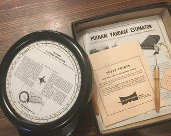 Vintage Putnam Yardage Estimator,Sewing Supplies
