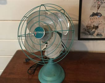 Vintage Turquoise Dominion Electric Fan