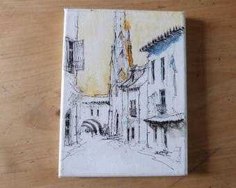 Vintage French Painting Street Scene with Church Ink and Watercolor Pau