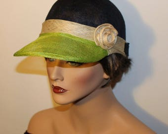 RESERVED FOR ROSE - Golf Cap - Casual Chic Sinamay cap- Fluo green, beige and Navy color block
