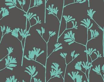 Kangaroo Paw in Turquoise - Landscape - Ink & Spindle - Organic Cotton - Cloud 9 Fabrics - 1 yard