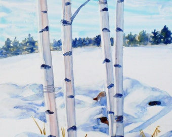 Birch trees painting, Original watercolor landscape, Nature country snow wall art, 11x14 Impressionist painting on Yupo paper by Janet Zeh