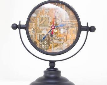 Unique Desk clock, recycled circuit board clock - yellow circuit board clock- ready to ship c5561