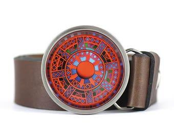 Mandala Belt Buckle, Art Blet Buckle, Red belt buckle