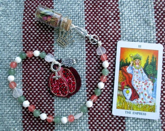 The Empress Tarot Prayer Beads with Charm Bottle - love, sensuality, creativity, beauty, growth, compassion, nurturing