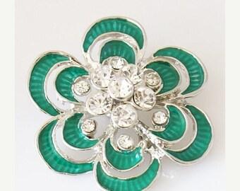 1 PC 18MM XL Rhinestone Green Flower Silver Candy Snap Charm Kb7093 Cc0717