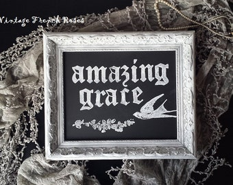 AMAZING GRACE Framed Chalkboard Art Sign French Style Ornate Gray White Frame Romantic Country Shabby Chic Cottage French Farmhouse Decor
