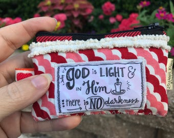 Small coin purse wallet-god is light- holds credit cards -calligraphy scripture-vintage boho chic-quilted zipper bag-love is