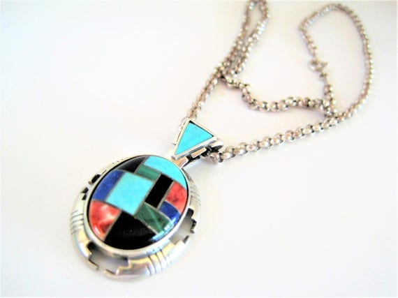 Sterling Inlaid Pendant Necklace-  Carolyn Pollack Designer  -  Turquoise Inlaid - Vintage Relios Pendant Necklace  -Original Box and Bag