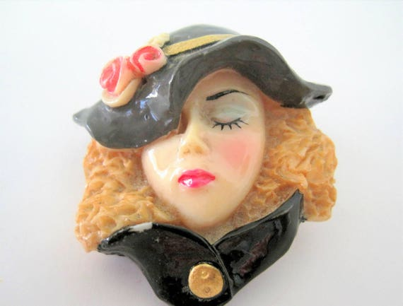 Woman Face Pin,40's Style with Hat,Acrylic Brooch