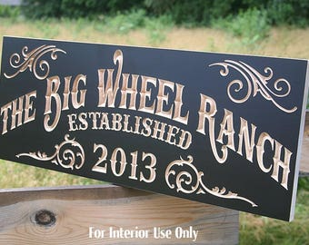 Family Ranch Sign, Family Farm Sign, Wedding Date Sign, Fixer Upper Sign, Farmhouse Sign, Benchmark Custom Signs, Maple BW