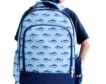 Finn, Camo, Sails, Whales Backpack - Includes MONOGRAM