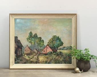 Vintage French Oil Painting Brittany France Landscape Rural Pastoral French Country Modern Farmhouse Art