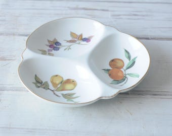 Royal Worcester Evesham Gold Relish Tray Serving Bowl Style 13-0
