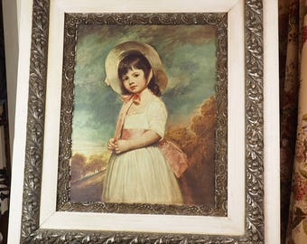 Antique Framed Print- Large- Miss Willoughby by George Romney- Ornate silver ox and white frame- Print on Board