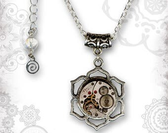 Lotus Steampunk Silver Necklace - The Mystic Seeker Collection by Za Dee Da - A Time to Meditate