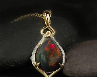 ON SALE Gold Black Opal Teardrop Necklace - Red Fire Opal - Diamond Setting