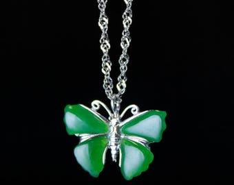 FLASH SALE Silver Jade Butterfly Necklace - Nephrite Jade - 925 Sterling Silver