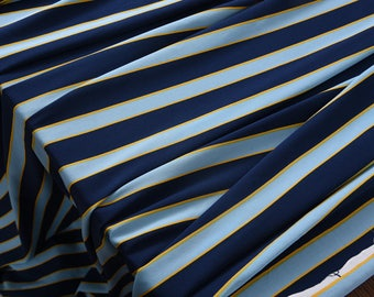 """Crepe de Chine silk, blue stripped 55""""  20m/m, fashion silk fabric for dresses, shirts, blouse, tops, by the yard"""