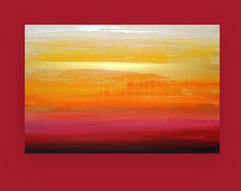 Gold, Orange, Pink,Art Painting - Acrylic, Ora Birenbaum Art, Abstract Painting Original Art on Canvas Titled: Golden Sunrise 24x36x1.5""