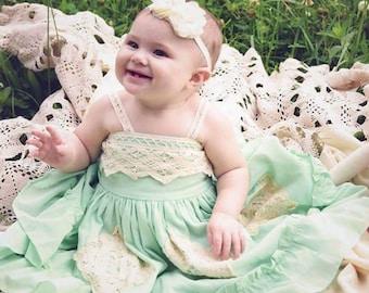 Ivory Baby Petite Headband. Photo Prop Ivory with Rhinestones & Pearls Preemie  Wedding