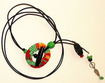 Loc Tie:  Kente Print Wrapped Toggle Loc Tie