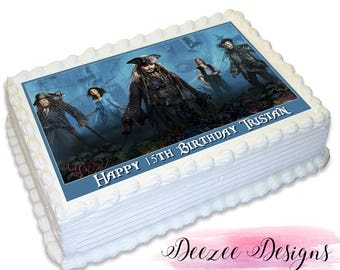 Pirates of the Caribbean Personalised A4 Edible Icing Cake Topper