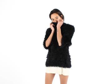 90s SUPER FLUFFY Plush Stretch Shaggy Faux Fur Knit Mongolian Shag Cowl Neck Sweater Top