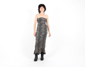 90s Y2K GLITTER Sexy Slinky Metallic Gold + Silver Rose Print Mesh Strapless Bandeau Maxi Bodycon / Bandage Formal Party Prom Cocktail Dress