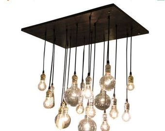 Summer Promo Industrial Chandelier With Vintage Bulbs & Your Choice of Socket Colors